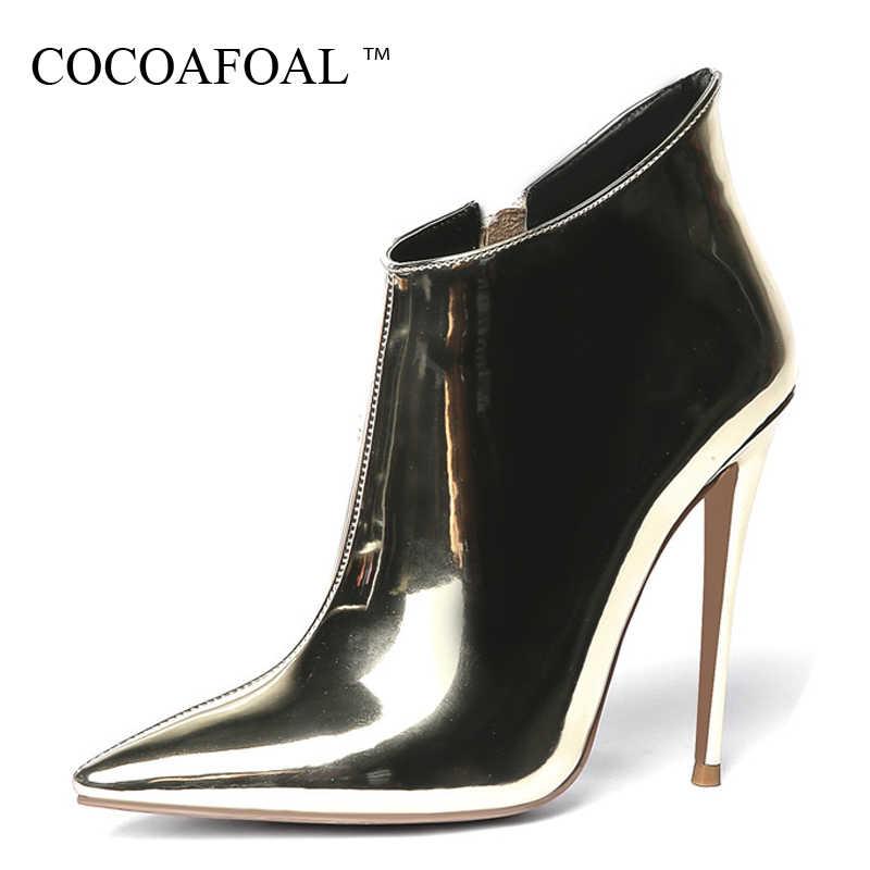 COCOAFOAL เซ็กซี่ทองเงินผู้หญิงรองเท้าส้นสูงรองเท้าข้อเท้ารองเท้าผู้หญิงเชลซีรองเท้าฤดูใบไม้ร่วงฤดูหนาวบางรองเท้าส้นสูงมาร์ตินรองเท้า Stiletto