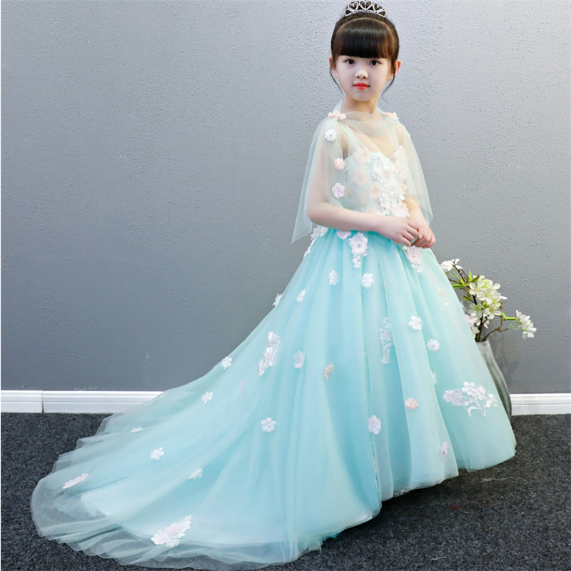2018 New Luxury Children Girls Wedding Birthday Party Green Princess Flowers Long Dress With Tailing Kids Piano Costume Dress2018 New Luxury Children Girls Wedding Birthday Party Green Princess Flowers Long Dress With Tailing Kids Piano Costume Dress