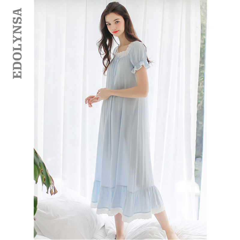 2f535281b2 Sleep   lounge Light Blue Long Sleeve Bow Lace Night Dress Princess Style  Vintage Nightgown Women ...