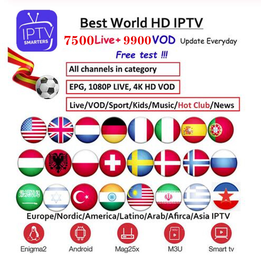 TV IPTV 1 Year Subscription With 7500+ Live TV And VOD French Arabic UK Gemany Europe Iptv Free Test For Android M3u Smart TV