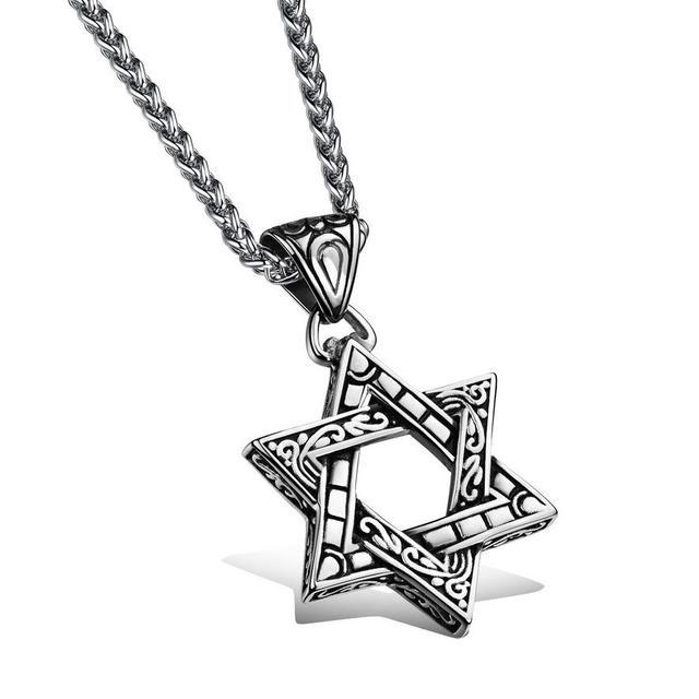 Star of David Symbol Retro Titanium Steel Pendant Necklace Mens Lucky Star  Hexagram Jewelry Cool Necklaces Hip-hop Punk Hot Sale f780a7a004f8