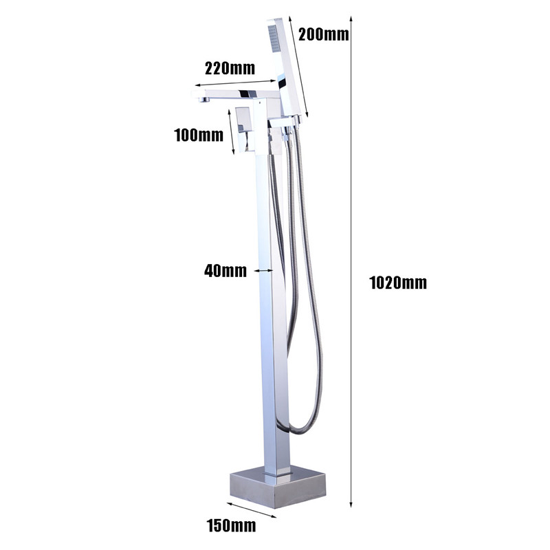 Xueqin Chrome Floor Mounted Free Standing Bathtub Faucet Shower Filler Tub Mixer Tap W/Hand Shower