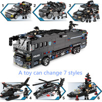 7 Military Series Police Building Blocks Kids Assembling Urban Weapons Aircraft Car Boat Dolls Boy Toy Compatible Legoeingly