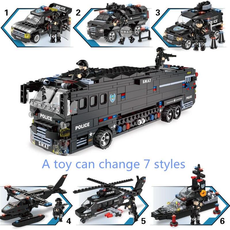 7 blocs de construction de la série militaire de la Police enfants assemblant des armes urbaines