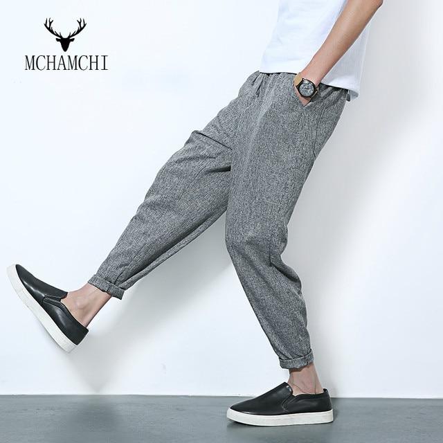 MCHAMCHI Korean Fashion Personality Cotton Casual Pants Slim Feet Pencil Pants Male Japanese Haren Pants Pantyhose Plus Size 5XL