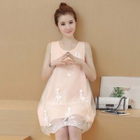 Moda Nowa Letnia Sukienka Macierzyński Macierzyństwo jednoczęściowy strój Na Co Dzień ciąży różowy Netto Nitki Bow Odzież dla Ciężarnych kobiety