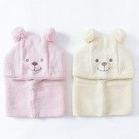 2016 Winter Warm Baby Hats Earflap Scarf Skull Caps Baby Girls Boys Soft Cotton Beanie Knitting