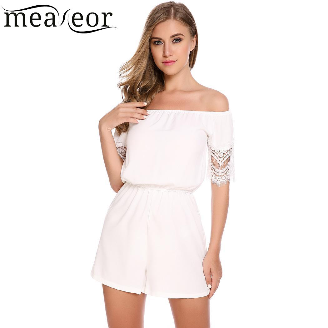 meaneor Casual Women New Slash Neck Off Shoulder Lace Hollow Out Sleeve Patchwork Jumpsuit Bodysuit