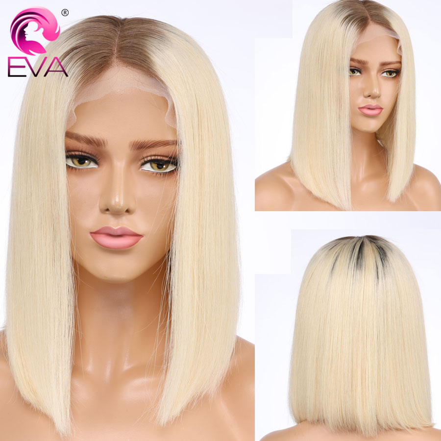 #4/613 Color Short Full Lace Human Hair Bob Wigs With Baby Hair Pre Plucked Straight Brazilian Blonde Remy Eva Hair Wig Glueless