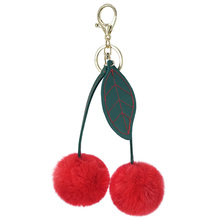 цены Cherry Pokemon Keychain Fur Pompom Plush Ball Key Chains Bags Decorative Pendant Charms Car Key Accessories Women Fashion Gifts