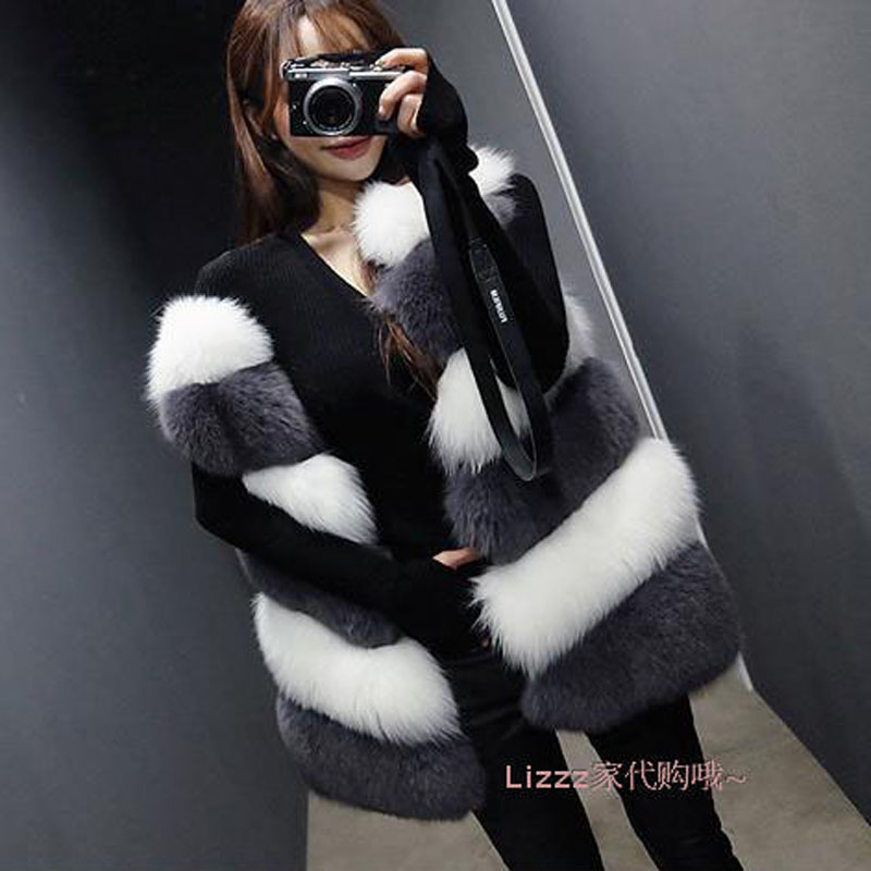 Manteau Automne En Gilet Blanc Hiver Nouvelle Femmes De Flair Qualité Whit Mode Fausse Uppin Renard Haute Couture Gris Black And 207 Fourrure F8UwEE