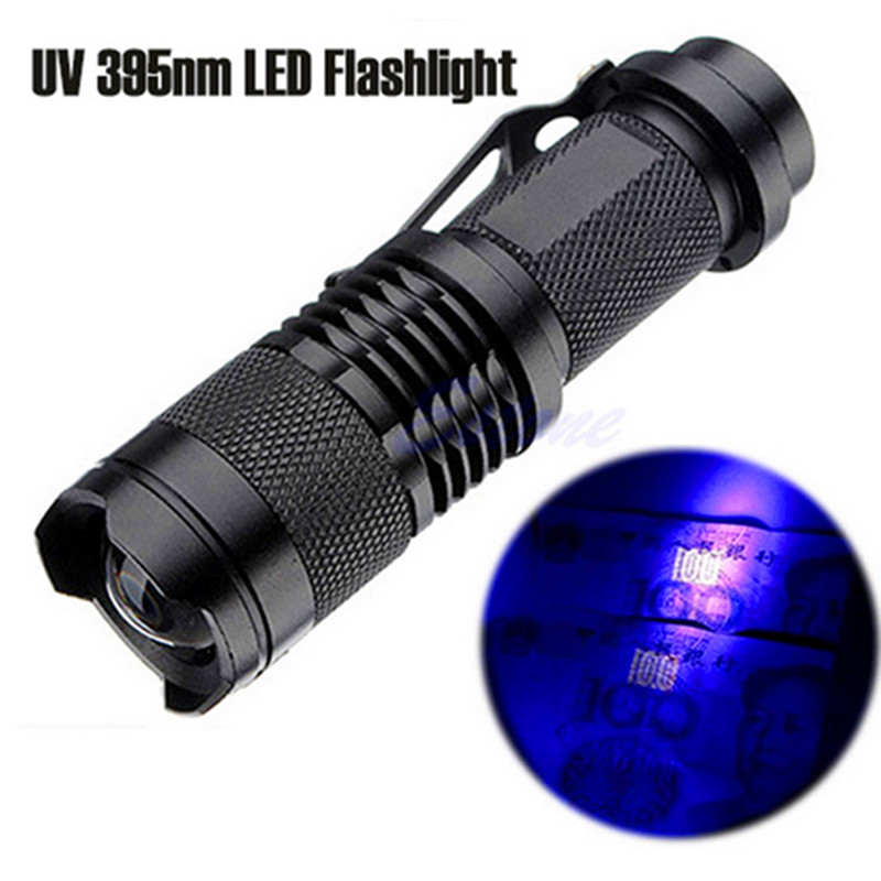 UV flashlight Mini cree led torch 365nm blacklight wavelength 395nm violet light uv black light torcia linterna Use 14500 or AA tactical ultraviolet flashlight detector 365 nm led uv lanternas sk98 purple light cree xml q5 violet torch lamp by aa 14500