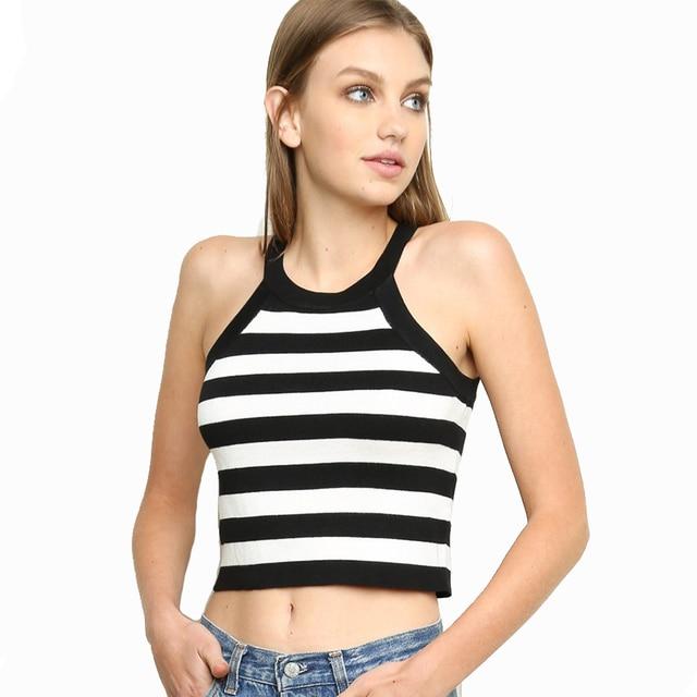 94b5c48fcf8 Brandy Melville sexy gilrs knitted bustier crop top Cotton sport striped tank  top Summer style basic women shirts