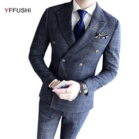 YFFUSHI Men Suit Grey Navy Classic Plaid Suits 3 Pieces Double Breasted Wedding Suits For Men England Style Slim Fit Gentlemen
