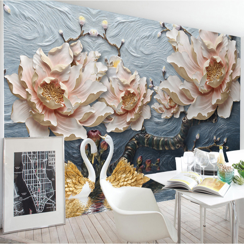 Exquisite Wall Coverings From China: 3D Stereo Relief Flowers Mural Wallpaper Living Room TV