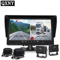 QXNY Автомобильный видеорегистратор 2 камеры s объектив 10,1 дюймов Даш камера двойной объектив с камерой заднего вида видеорегистратор авто ре
