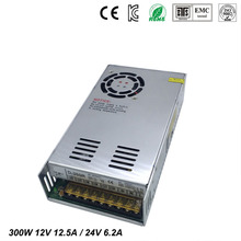 цена на Best quality double sortie 12V 24V 300W Switching Power Supply Driver for LED Strip AC100-240V Input to DC 12V 24V free shipping
