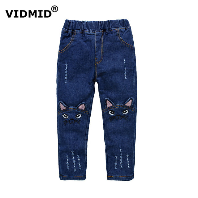 Весна осень 2017 стерео кошка джинсы для девочек дети рваные джинсы модные джинсы для подростков девушка джинсы 1036