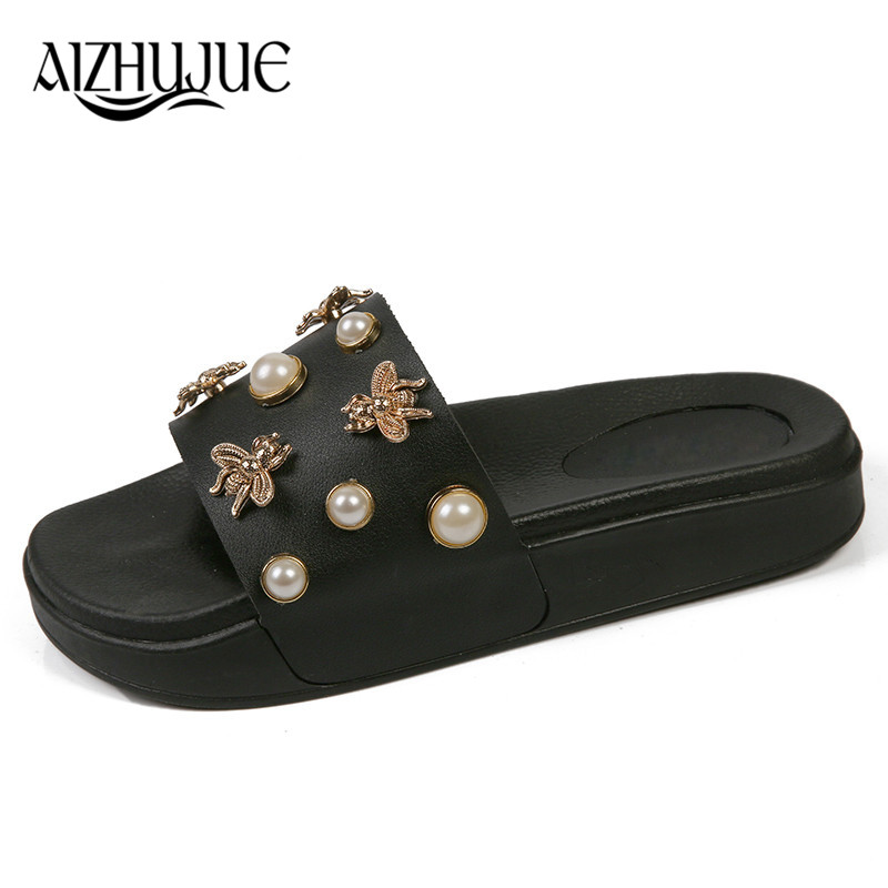 AIZHUJUE New Women Slippers Flat Casual Women Shoes Slip On Slides Beach Slippers Flip Flops Sandals Fashion Rivet Pearl Slipper