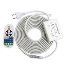 Tira de luz de led 220 v, com controle remoto rf faixa regulável 2835 smd ip67 impermeável ledstrip 220 v fita de diodo bande jq led