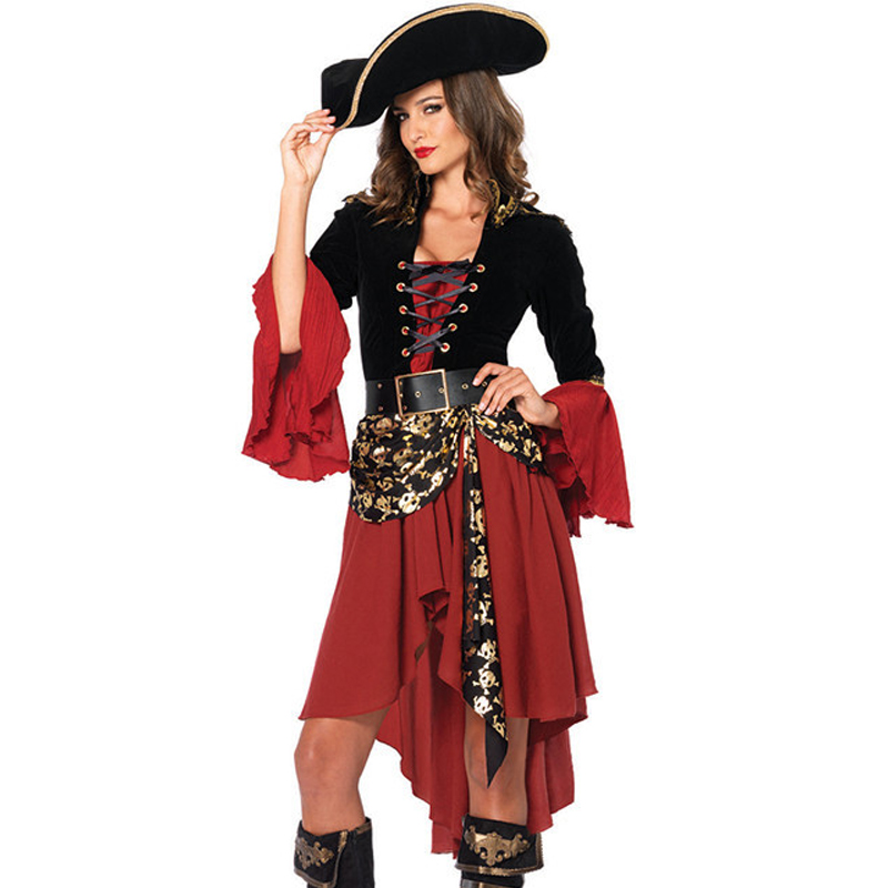 Dress and Hat Women Set Pirates of The Caribbean Film Role Cosplay Uniforms Halloween Costumes for Women Party DS Costumes