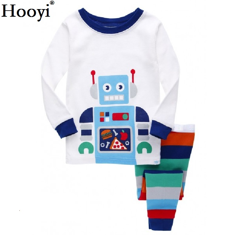 Hooyi Boy pajamas suit Long Sleeve Pajama Children pijama Kids Sleepwear clothes D nightgown 100% Cotton T-Shirt Pants Set 6