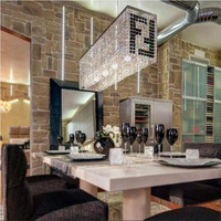 Contemporary Crystal Cafe Light Luminaire Dining Room Round Square Pendant Lights 2016 New Led E14 Bulbs