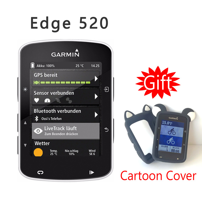 Original GARMIN Edge 520 GPS+GLONASS Enabled Bicycle Computer Speedometer IPX7 Waterproof -(Give a Silicone Cartoon Cover)