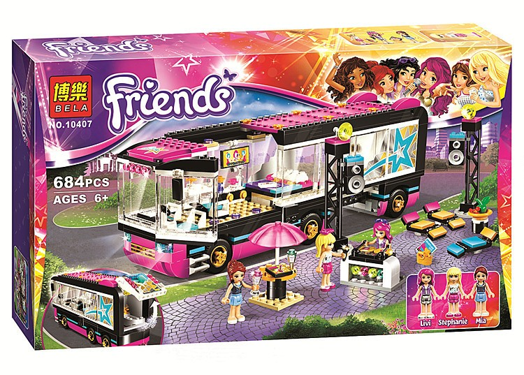 Bela 10407 Friends Pop Star Tour Bus Blocks Bricks Toys Girl Game House Gift Compatible with Decool Lepin Sluban lepin 41106