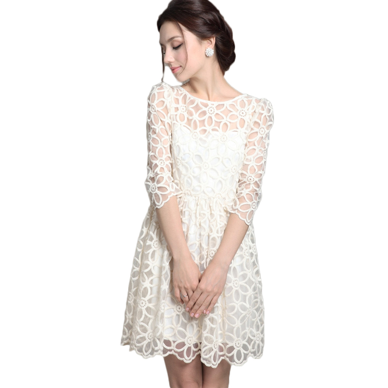 c646b68d030f Spring Elegant Sheer Embroidery Casual Lace Dress White Women Summer dress  Cocktail Party Dresses Vestidos De Festa-in Dresses from Women s Clothing  on ...