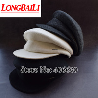 Winter Solid Color White Wool Felt Beret Caps For Women Visors Men Military Hats Free Shipping BMDW003