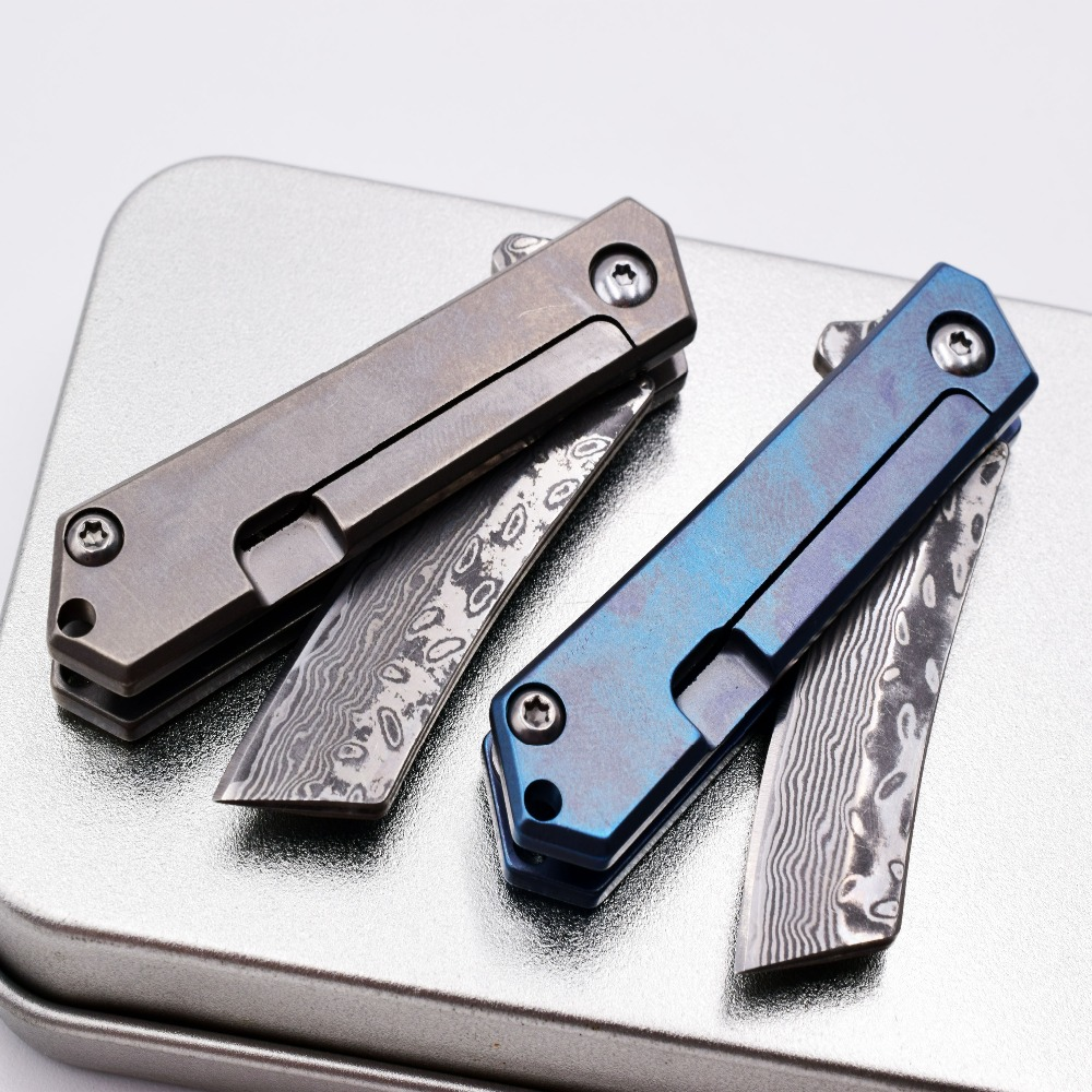 Mini Folding Knife Carry Key Ring Necklace Titanium Damascus Blade Survival Camping EDC Tool Paper Out Of The Box Pocket Knife in Knives from Tools