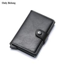 Only Belong  Rfid Card Holder Men Wallets Money Bag Male Vintage black Short Purse 2018 Small Leather Smart Wallets Mini Wallets slide wallet
