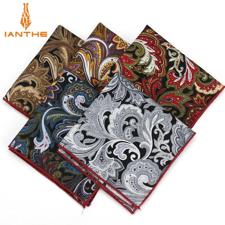 2018 Brand New Men's Fashion Cotton Pocket Squares For Men Paisley Square Handkerchief Wedding Classic Suit Pocket Hankies Towel