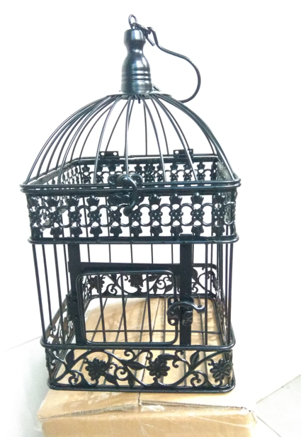 Fesyen Wedding Birdcage Iron Home Decoration Square Bird Cage Custom Hiasan Cangkuk Hitam Putih Tembaga warna