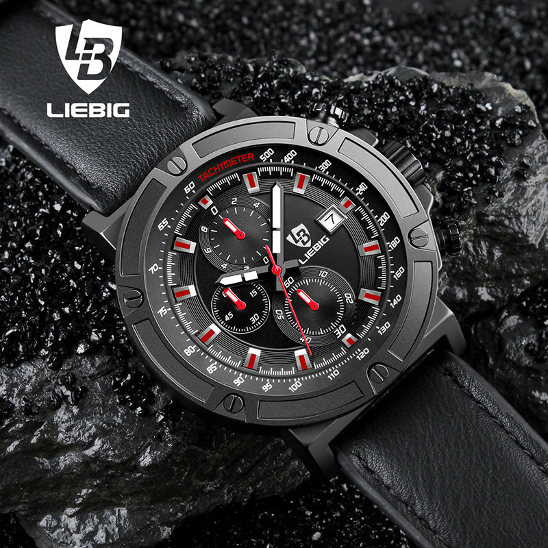 New Leather Military Men Watch Sport Stopwatch Leather Strap Analog Quartz Watches Male Waterproof Clock Relogio Masculino Xfcs weide new men quartz casual watch army military sports watch waterproof back light men watches alarm clock multiple time zone
