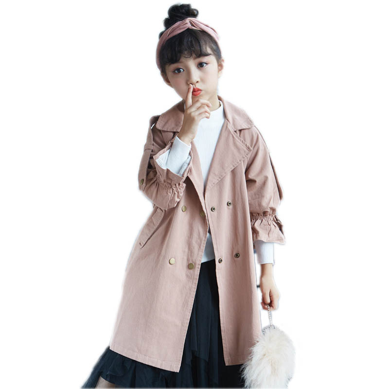 children spring jackets kids clothes long section double breasted girls trench jackets solid turn down collar girls windbreaker korean style turndown collar solid color double breasted long sleeves polyester trench coat for men