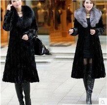 Women's 2016 Winter Fur Coat  Overcoat Female Outerwear Mink Hair Fur With Fox Collar Long design Thick Warm Top Rabbit Jacket