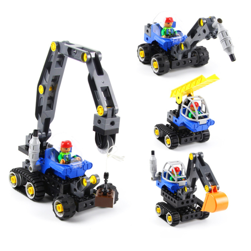 4 Kind Big Size Engineering Forklift Excavator Building Blocks Interesting Bricks Model Compatible Duploe For Kids Holiday Gifts 196pcs building blocks urban engineering team excavator modeling design