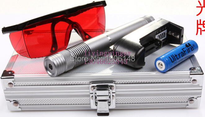 High power Blue laser pointers 100000m 10w 450nm Burn Match/dry wood/black plastic/Burning cigarettes+5 star caps+Glasses+Box blue laser pointer high power laser pen 450nm burn match cigarettes candle with 5 star caps for hunting metal box