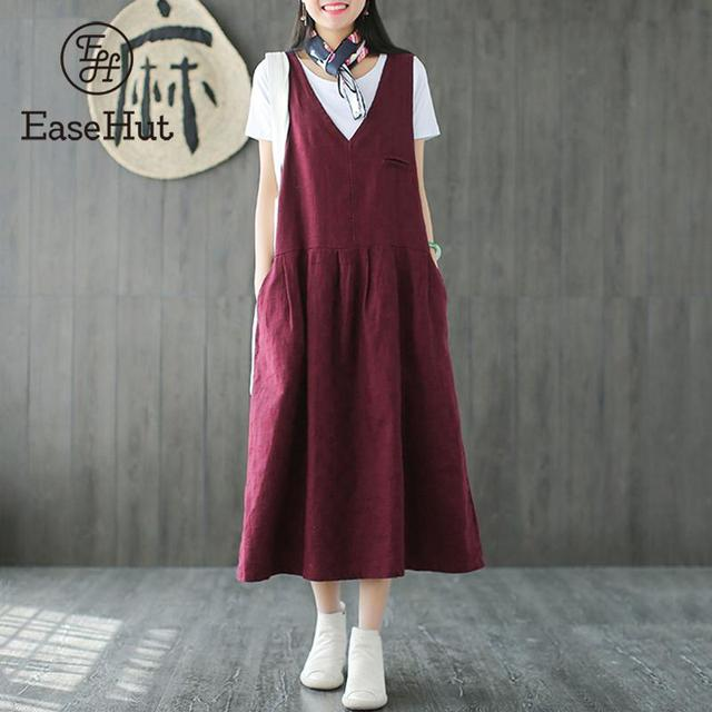 92a9ef3bfd6 EaseHut Vintage Women Cotton Sleeveless Dress Solid V Neck Autumn Plus Size  5XL Casual Loose Baggy Midi Dresses Vestidos Elbise