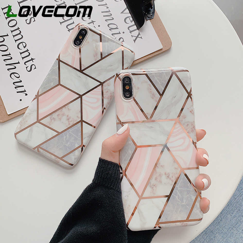 LOVECOM Geometric Marble Texture Phone Cases For iPhone XR XS Max 6 6S 7 8 Plus X Soft IMD Electroplated Back Cover Coque Gift