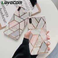 LOVECOM Geometrica Marble Texture Telefono Custodie Per il iphone XR XS Max 6 6S 7 8 Più di X Molle IMD placcato Della Copertura Posteriore Coque Regalo