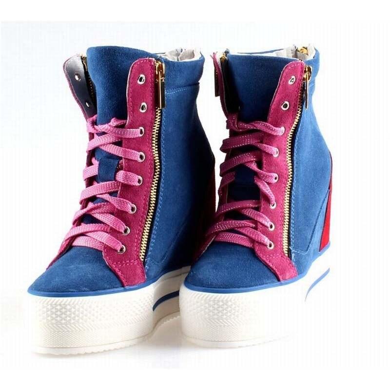 Mode daim femmes compensées bottines printemps automne Invisible talon haut femmes chaussons Double fermeture éclair chaussures décontractées en cuir