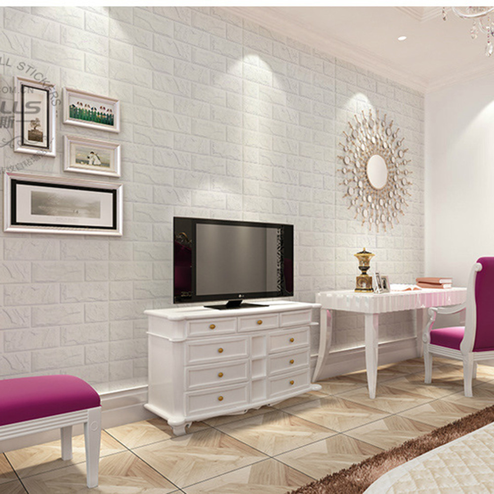 2017 NEW White 3D Modern Design Brick Wallpaper Roll Vinyl Wall Covering Paper Living Room Dinning Store Background In Wallpapers From Home
