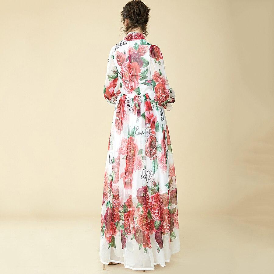 Högkvalitativa Runway Floral Long Dress 2018 Ny Sommar Mode Women - Damkläder - Foto 3