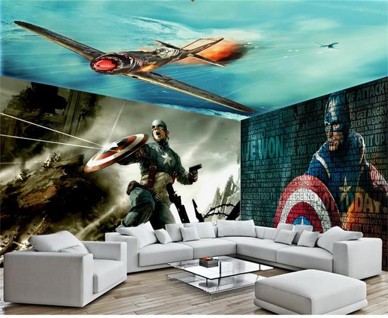 3D photo wallpaper custom room mural non-woven wall sticker Captain United States space TV background wall Painting wallpaper 3d room photo wallpaper custom mural moth orchid 3d photo painting room sofa tv background wall wallpaper non woven wall sticker
