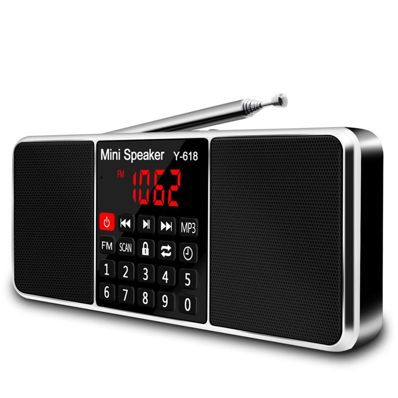 Multifunction rádio digital fm media alto-falante mp3 player de música suporte tf cartão usb drive com display led e temporizador func