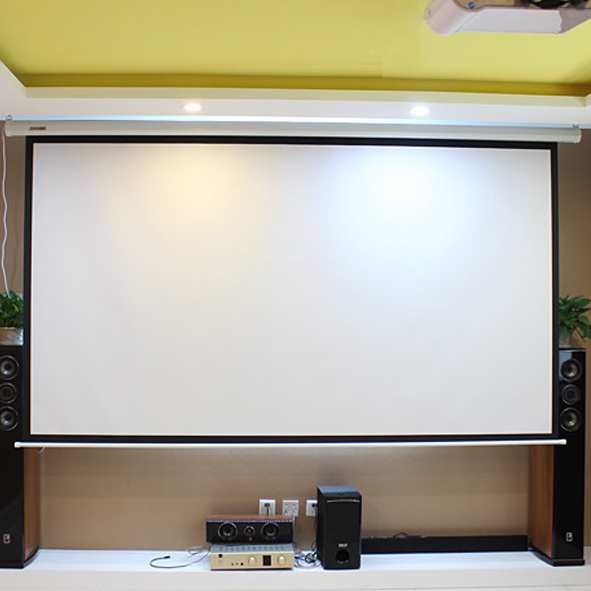 HD Electric Projection Screen 150 Inch With Remote Control 16:9 Motorized  Wall Mount Projector