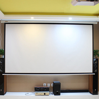 HD Electric Projection Screen 150 Inch With Remote Control 16:9 Motorized Wall Mount Projector Screens For 3D Cinema Office